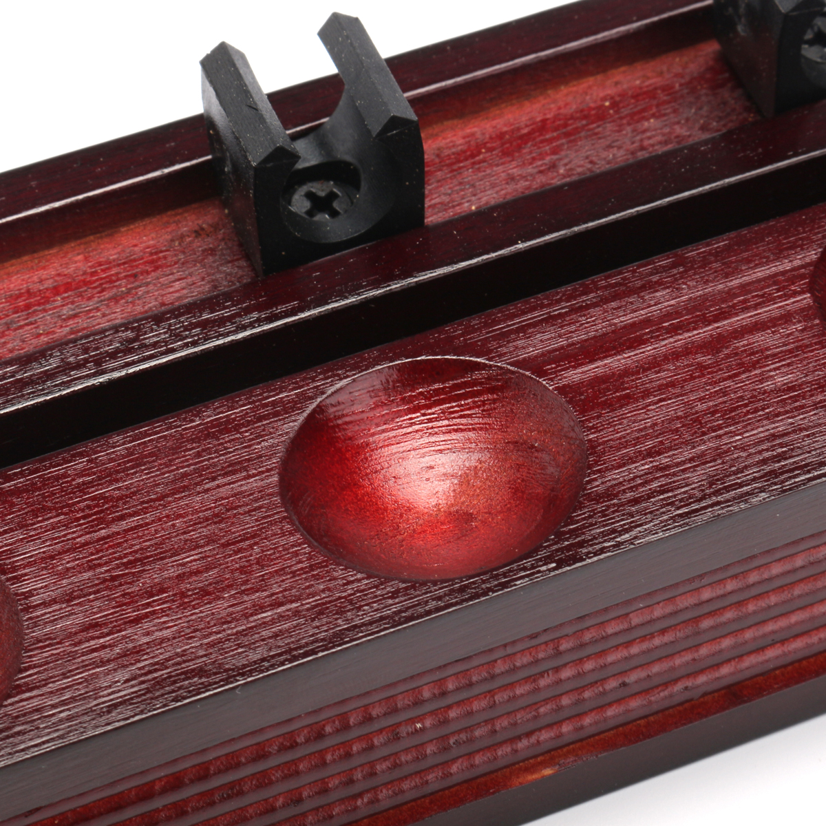 6 Clips Wooden Cue Rack Wall Mounted Pool Snooker Billiard Game Mahogany Decorations