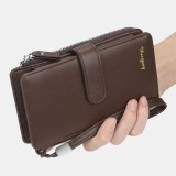 Baellerry Men Faux Leather Long Wallet Phone Bag Card Holder Clutches Bag For Business