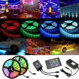 2*5M LED Strip Light Waterproof Outdoor DC12V 5050 RGB Music Lamp IR Remote Control +3A EU US Plug