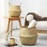 Handmade Seagrass Storage Baskets Foldable Laundry Straw Patchwork Wicker Rattan Seagrass Belly Garden Flower Pot Planter Basket