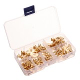 250pcs Ring Type Gold Terminals Golden Brass Non-insulated Crimp Terminals Connectors 3.2mm-10.2mm Cable Wire Connector Terminal