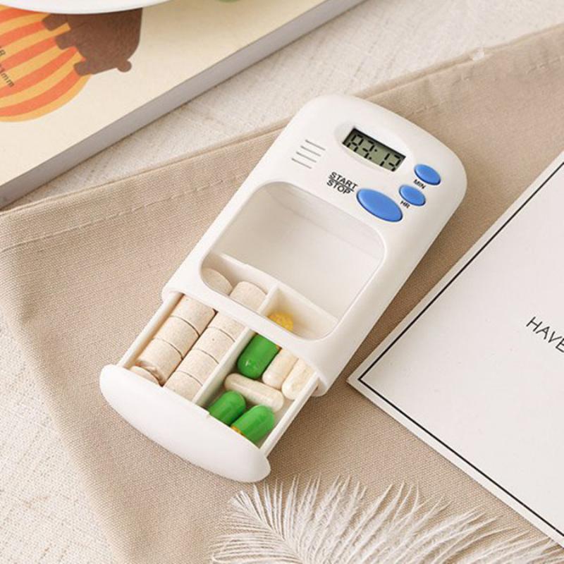 Mini Portable Pill Reminder Drug Alarm Timer Electronic Box Organizer LED Display Alarm Clock Remind