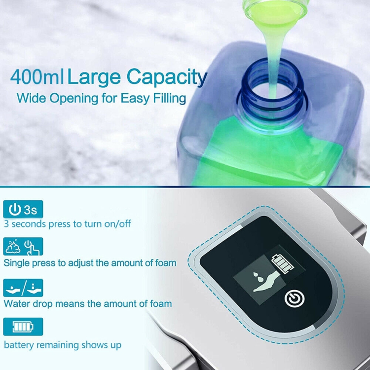 Goddard Non-contact Auto-sensing Foam Intelligent Hand Sanitizer Liquid Soap Dispenser with LED Display (Space Silver)