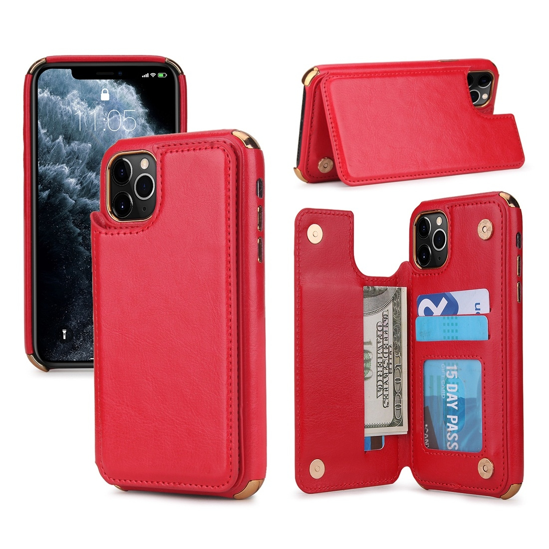 For iPhone 11 Pro Max POLA TPU + PC Plating Full Coverage Protective Case with Holder & Card ...