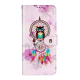 For Galaxy S20+ Oil Embossed Coloured Drawing Pattern Horizontal Flip PU Leather Case with Holder & Card Slots & Wallet (Owl Wind Chimes)