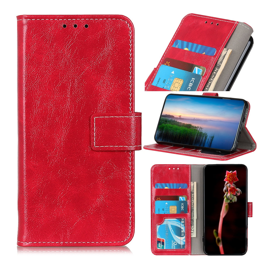 For LG K61 Retro Crazy Horse Texture Horizontal Flip Leather Case with Holder & Card Slots & Photo Frame & Wallet (Red)