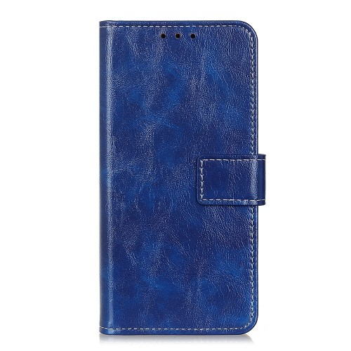 For LG K61 Retro Crazy Horse Texture Horizontal Flip Leather Case with Holder & Card Slots & Photo Frame & Wallet (Blue)