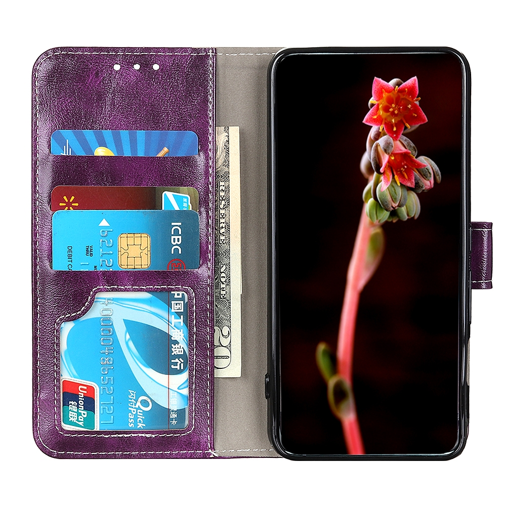 For LG K61 Retro Crazy Horse Texture Horizontal Flip Leather Case with Holder & Card Slots & Photo Frame & Wallet (Purple)