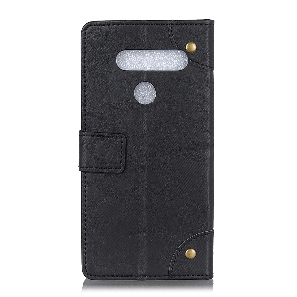 For LG K61 Copper Buckle Retro Crazy Horse Texture Horizontal Flip Leather Case with Holder & Card Slots & Wallet (Black)