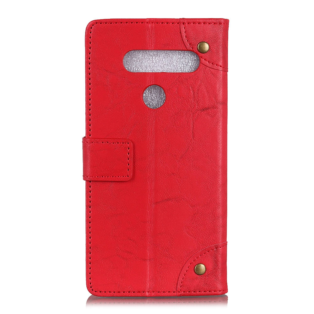 For LG K61 Copper Buckle Retro Crazy Horse Texture Horizontal Flip Leather Case with Holder & Card Slots & Wallet (Red)