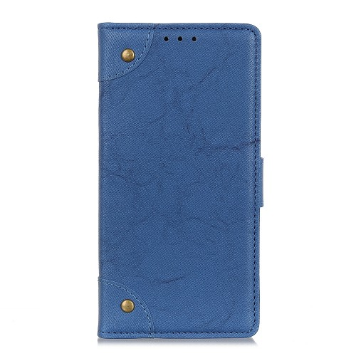 For LG K61 Copper Buckle Retro Crazy Horse Texture Horizontal Flip Leather Case with Holder & Card Slots & Wallet (Blue)