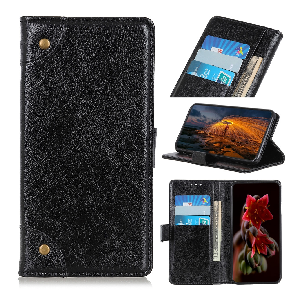 For LG K61 Copper Buckle Nappa Texture Horizontal Flip Leather Case with Holder & Card Slots & Wallet (Black)