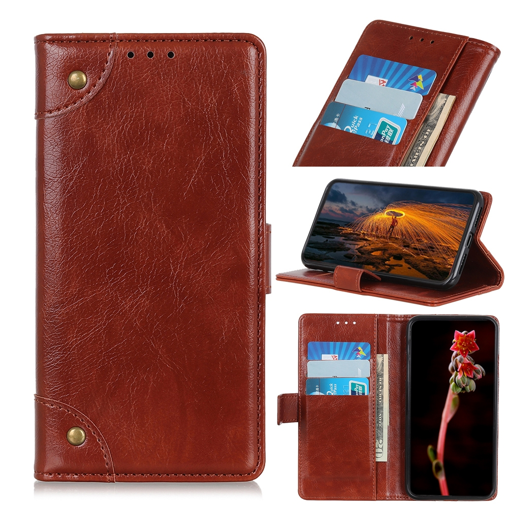 For LG K61 Copper Buckle Nappa Texture Horizontal Flip Leather Case with Holder & Card Slots & Wallet (Brown)