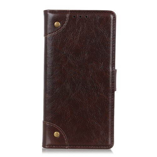 For LG K61 Copper Buckle Nappa Texture Horizontal Flip Leather Case with Holder & Card Slots & Wallet (Coffee)