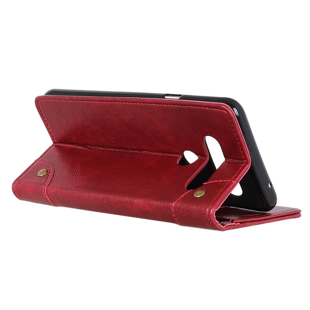 For LG K61 Copper Buckle Nappa Texture Horizontal Flip Leather Case with Holder & Card Slots & Wallet (Wine Red)