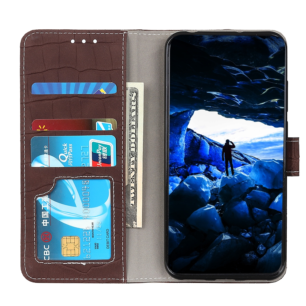 For LG K61 Crocodile Texture Horizontal Flip Leather Case with Holder & Card Slots & Wallet (Brown)