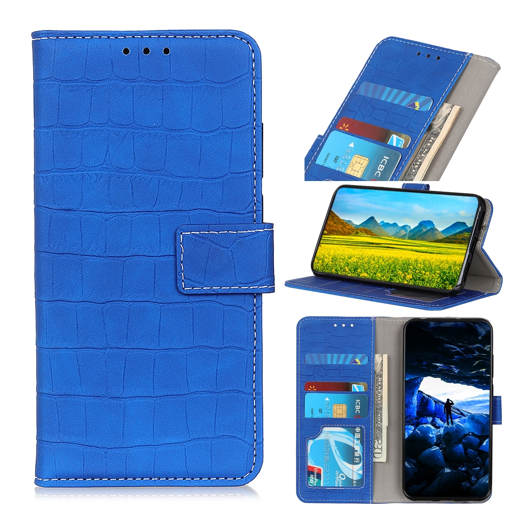 For LG K61 Crocodile Texture Horizontal Flip Leather Case with Holder & Card Slots & Wallet (Blue)