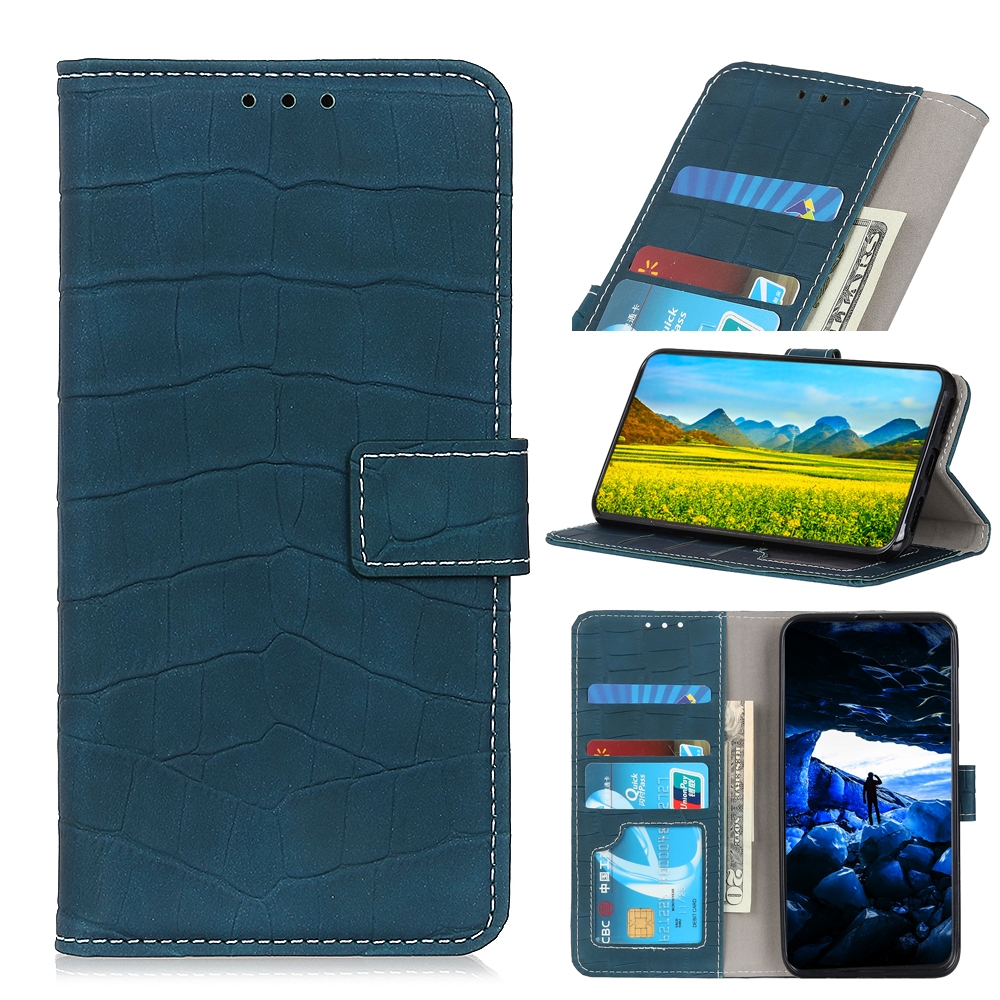 For LG K61 Crocodile Texture Horizontal Flip Leather Case with Holder & Card Slots & Wallet (Dark Green)