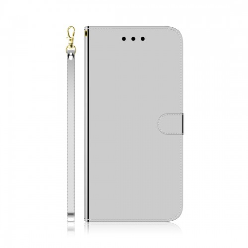 For LG K61 Lmitated Mirror Surface Horizontal Flip Leather Case with Holder & Card Slots & Wallet & Lanyard (Silver)
