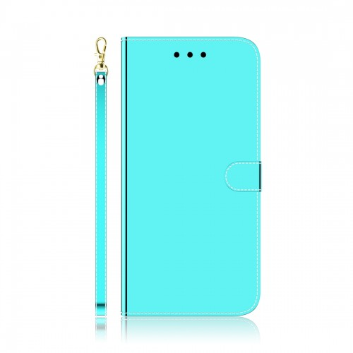 For LG K61 Lmitated Mirror Surface Horizontal Flip Leather Case with Holder & Card Slots & Wallet & Lanyard (Mint Green)
