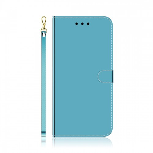 For LG K61 Lmitated Mirror Surface Horizontal Flip Leather Case with Holder & Card Slots & Wallet & Lanyard (Blue)