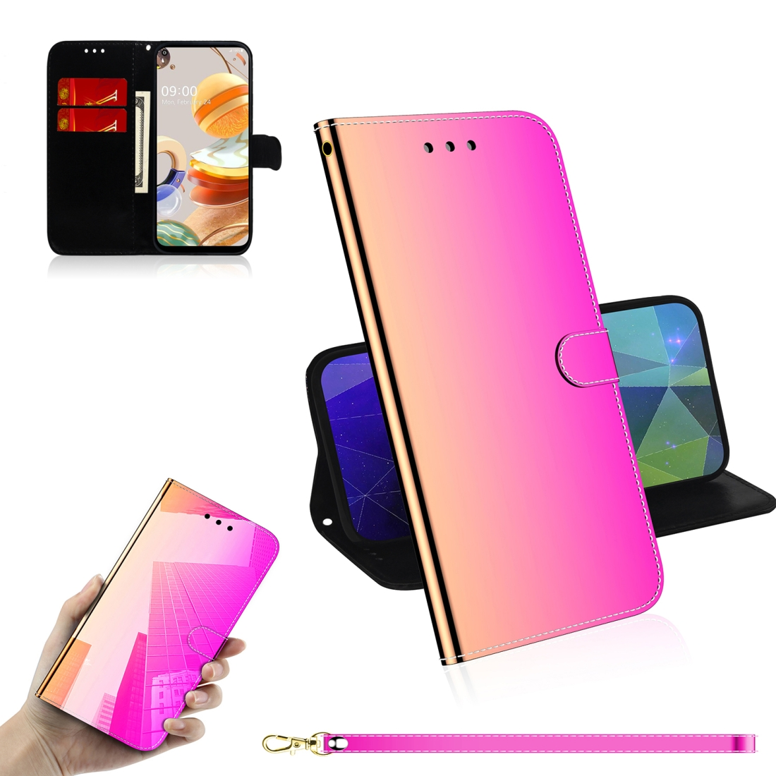 For LG K61 Lmitated Mirror Surface Horizontal Flip Leather Case with Holder & Card Slots & Wallet & Lanyard (Gradient Color)