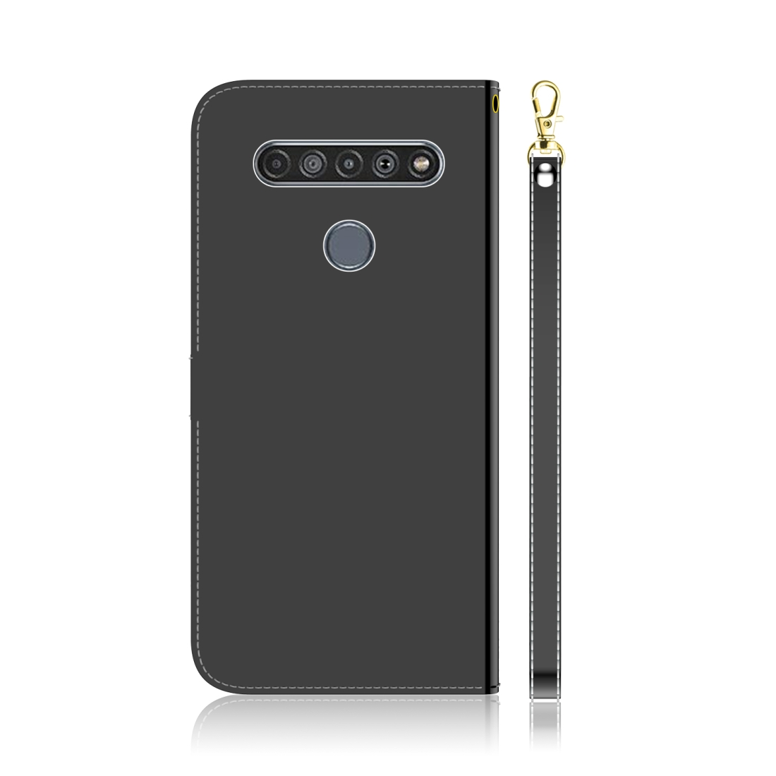 For LG K61 Lmitated Mirror Surface Horizontal Flip Leather Case with Holder & Card Slots & Wallet & Lanyard (Black)