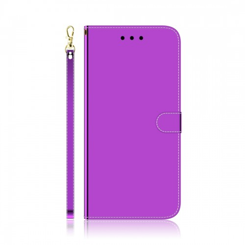For LG K61 Lmitated Mirror Surface Horizontal Flip Leather Case with Holder & Card Slots & Wallet & Lanyard (Purple)