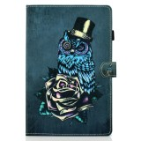 For iPad Pro 11 2020 Sewing Thread TPU Left and Right Flat Leather Case with Sleep Function & Card Slot & Buckle Anti-skid Strip and Pen Cover (Rose Owl)