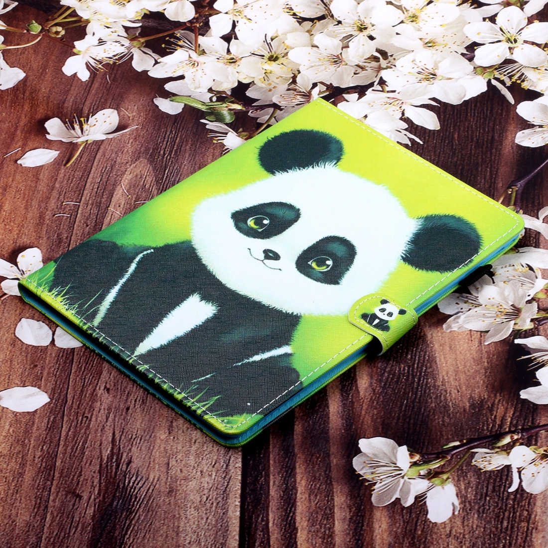 Sewing Thread Left and Right Flat Leather Case with Pen Cover & Card Slot & Buckle Anti-skid Strip and Bracket (Panda)