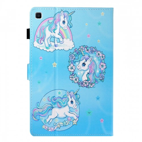 Sewing Thread Left and Right Flat Leather Case with Pen Cover & Card Slot & Buckle Anti-skid Strip and Bracket (Unicorn)
