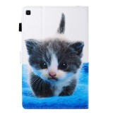 Sewing Thread Left and Right Flat Leather Case with Pen Cover & Card Slot & Buckle Anti-skid Strip and Bracket (Blue White Cat)
