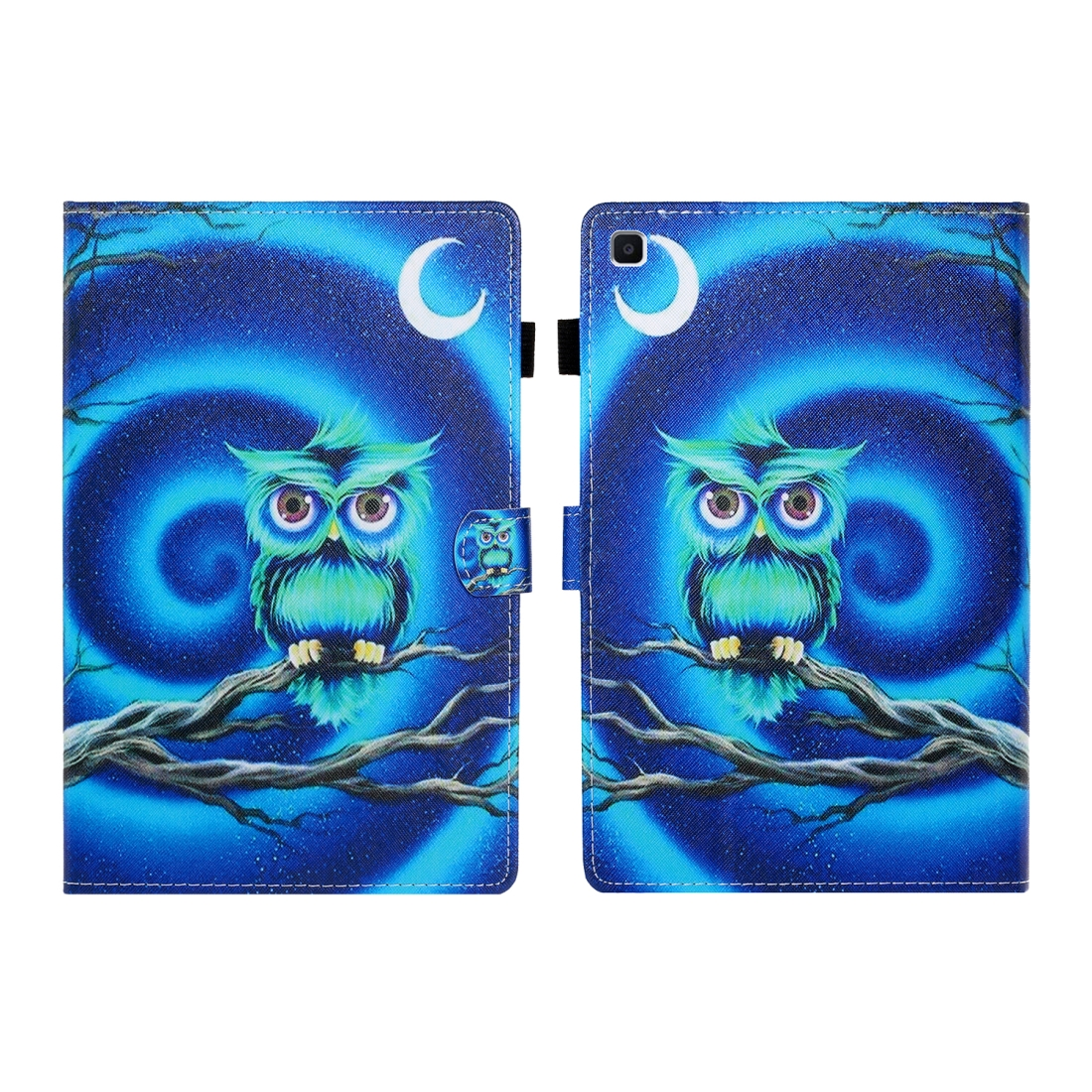 Sewing Thread Left and Right Flat Leather Case with Pen Cover & Card Slot & Buckle Anti-skid Strip and Bracket (Moon Owl)