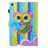 Sewing Thread Left and Right Flat Leather Case with Pen Cover & Card Slot & Buckle Anti-skid Strip and Bracket (Rainbow Owl)