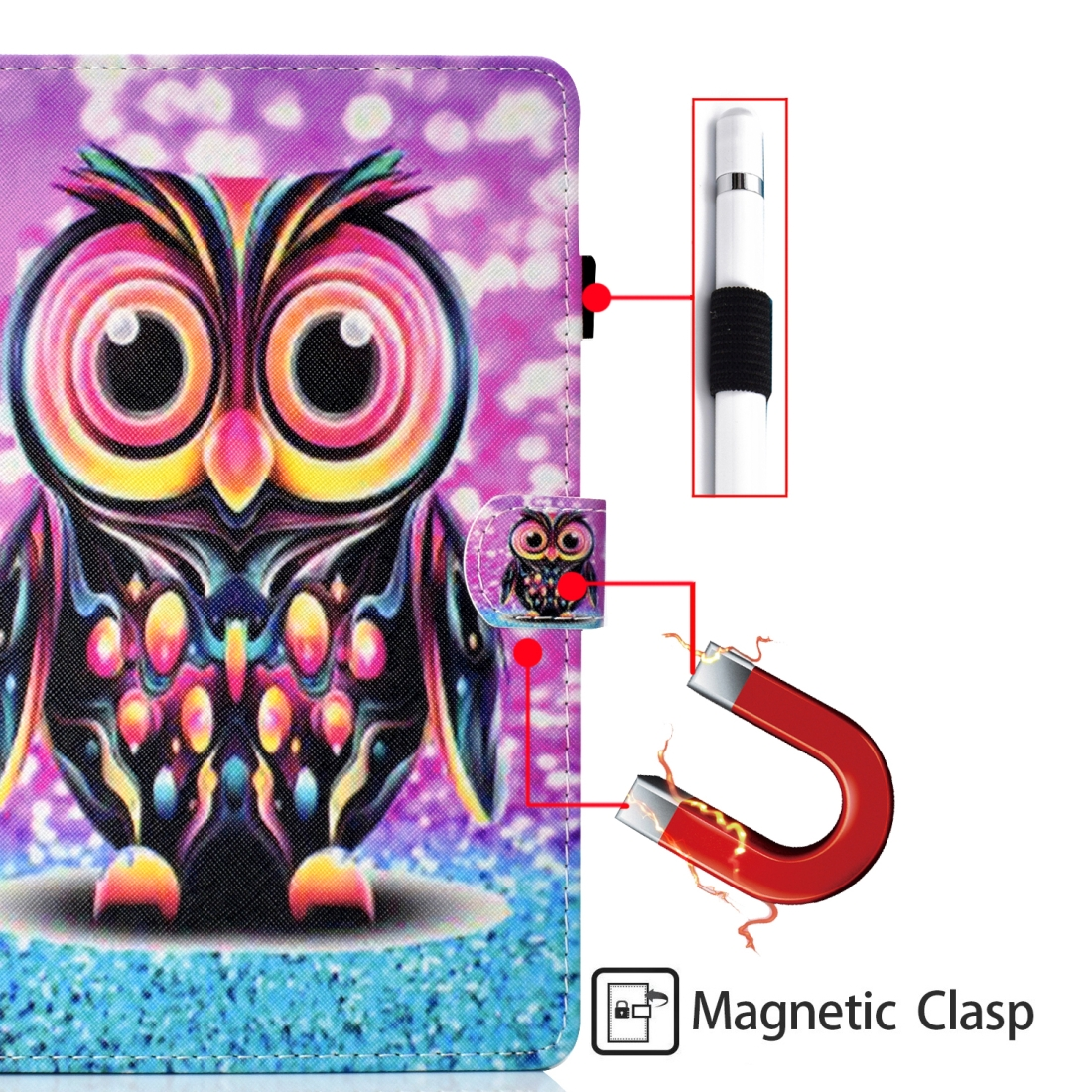 Sewing Thread Left and Right Flat Leather Case with Pen Cover & Card Slot & Buckle Anti-skid Strip and Bracket (Owl)