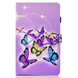 Sewing Thread Left and Right Flat Leather Case with Pen Cover & Card Slot & Buckle Anti-skid Strip and Bracket (Butterfly)