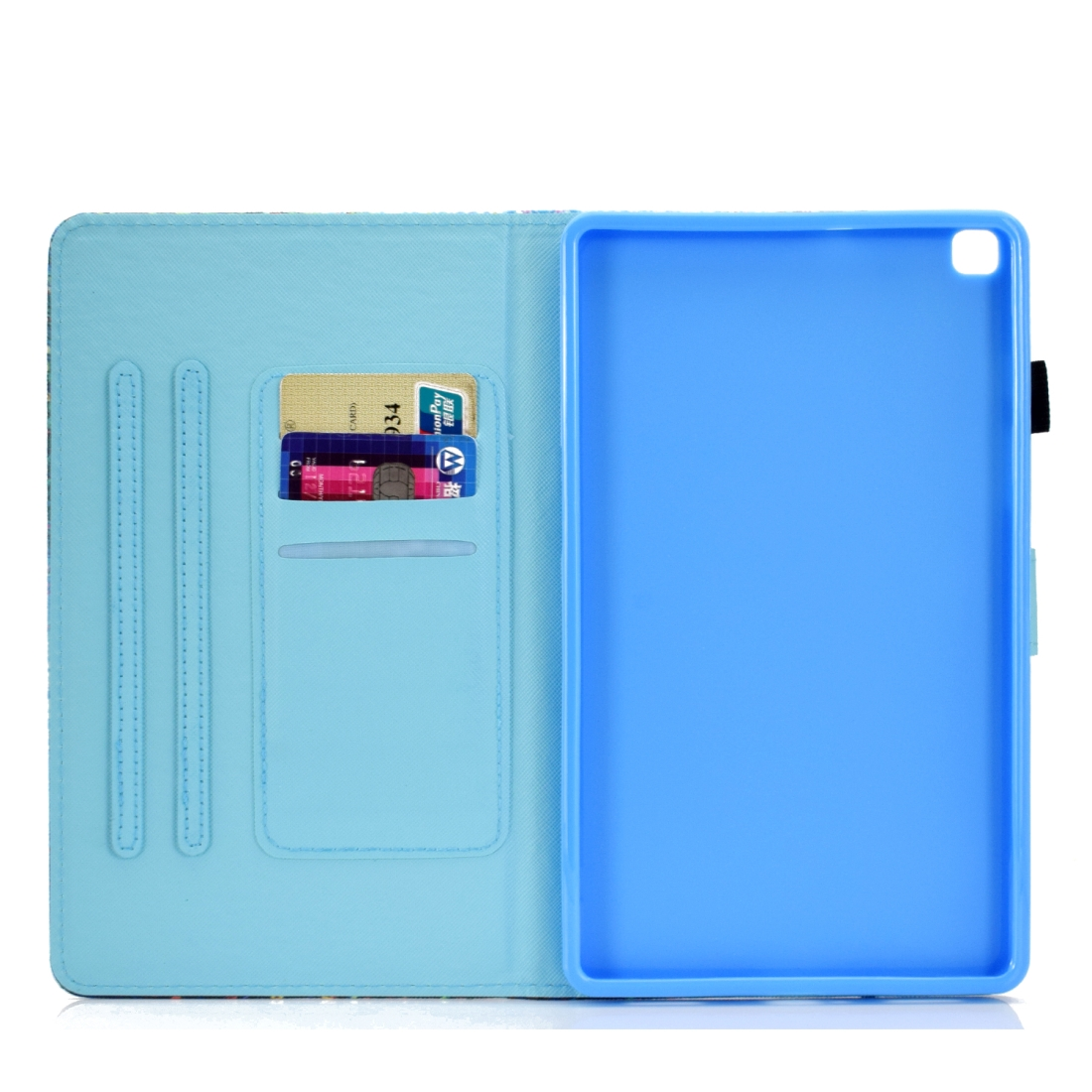 Sewing Thread Left and Right Flat Leather Case with Pen Cover & Card Slot & Buckle Anti-skid Strip and Bracket (Petal Rain)