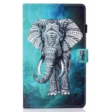 Sewing Thread Left and Right Flat Leather Case with Pen Cover & Card Slot & Buckle Anti-skid Strip and Bracket (Elephant)