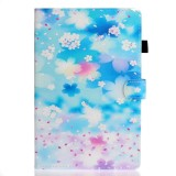 For iPad Pro 11 inch 2020 Painted Left and Right Flat Leather Case with Sleep Function & Card Slot & Buckle Anti-skid Strip and Bracket (Petal Rain)