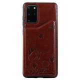 For Galaxy S20 Plus Cat Bee Embossing Pattern Shockproof Protective Case with Card Slots & Photo Frame (Brown)