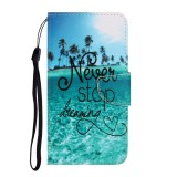 For Galaxy A01 Colored Drawing Horizontal Flip Leather Case with Holder & Card Slot & Wallet (Blue Coconut Grove)