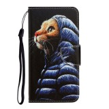 For Galaxy A21 Colored Drawing Horizontal Flip Leather Case with Holder & Card Slot & Wallet (Down Jacket Cat)