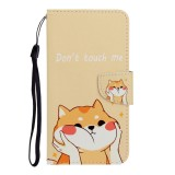 For Galaxy A21 Colored Drawing Horizontal Flip Leather Case with Holder & Card Slot & Wallet (Shiba Inu)
