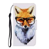For Galaxy A21 Colored Drawing Horizontal Flip Leather Case with Holder & Card Slot & Wallet (Fox)