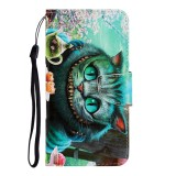 For Galaxy A21 Colored Drawing Horizontal Flip Leather Case with Holder & Card Slot & Wallet (Green Eyes)