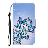 For Galaxy A21 Colored Drawing Horizontal Flip Leather Case with Holder & Card Slot & Wallet (Many Butterflies)