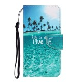 For Galaxy A21 Colored Drawing Horizontal Flip Leather Case with Holder & Card Slot & Wallet (Coconut Tree)