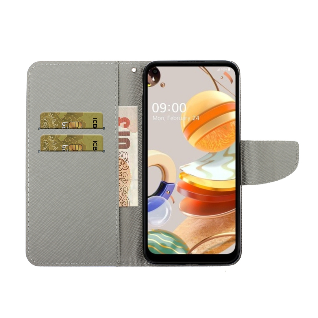 For LG K61 Colored Drawing Horizontal Flip Leather Case with Holder & Card Slot & Wallet (Down Jacket Cat)