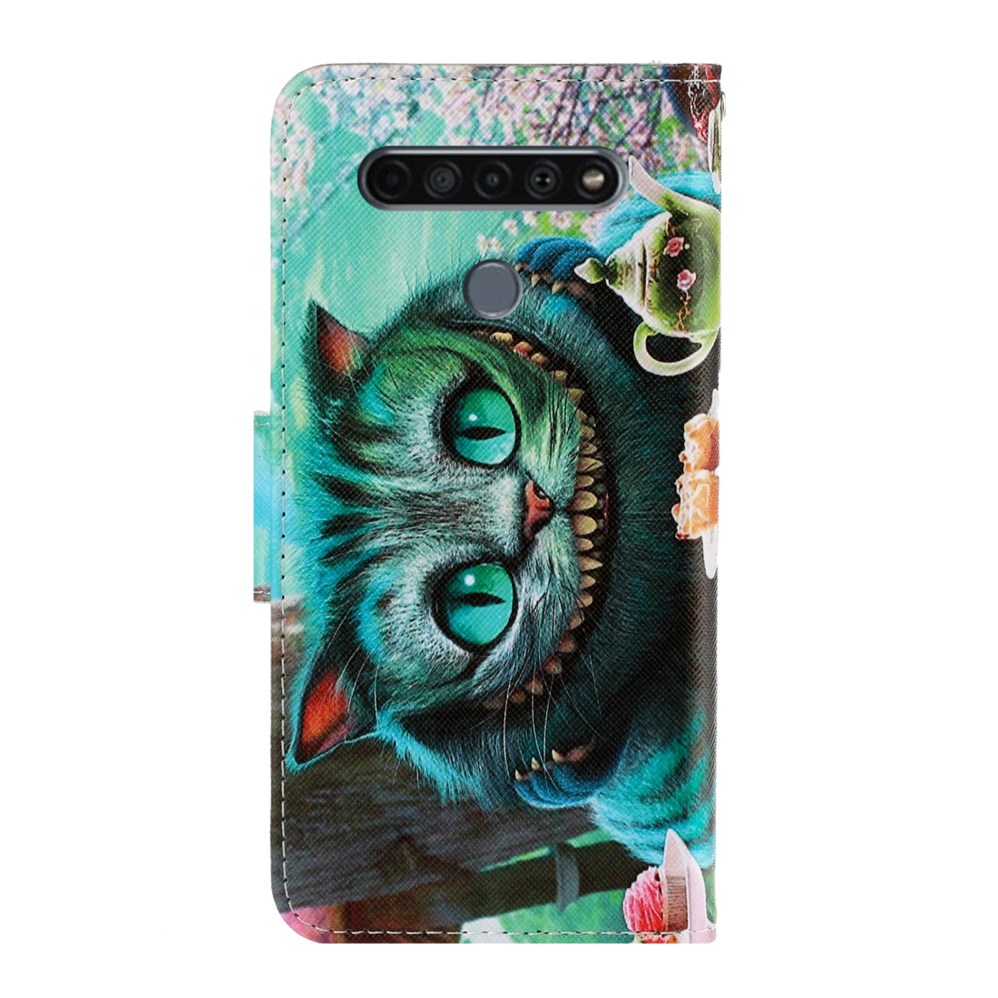 For LG K61 Colored Drawing Horizontal Flip Leather Case with Holder & Card Slot & Wallet (Green Eyes)