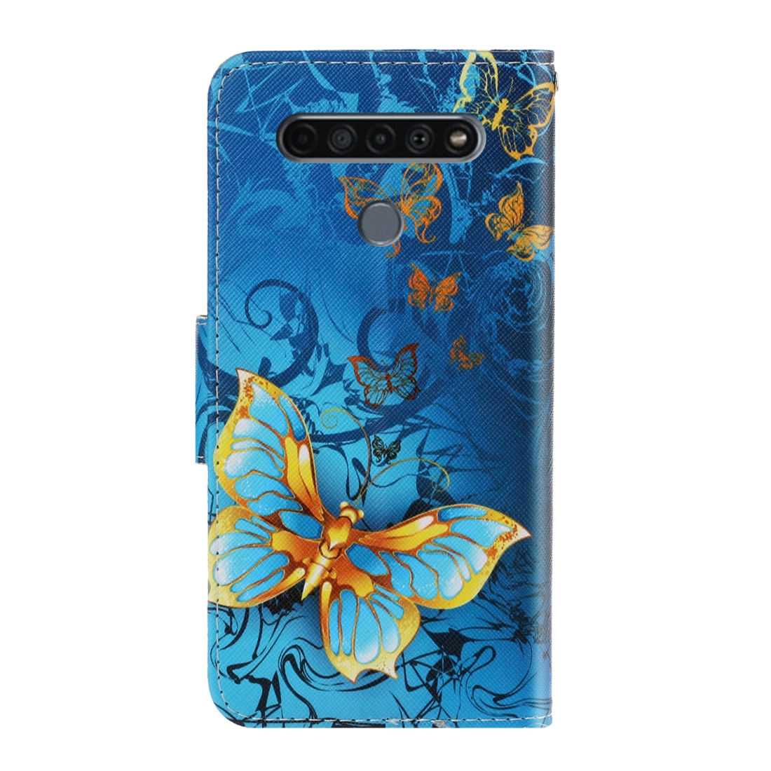 For LG K61 Colored Drawing Horizontal Flip Leather Case with Holder & Card Slot & Wallet (Jade Butterfly)